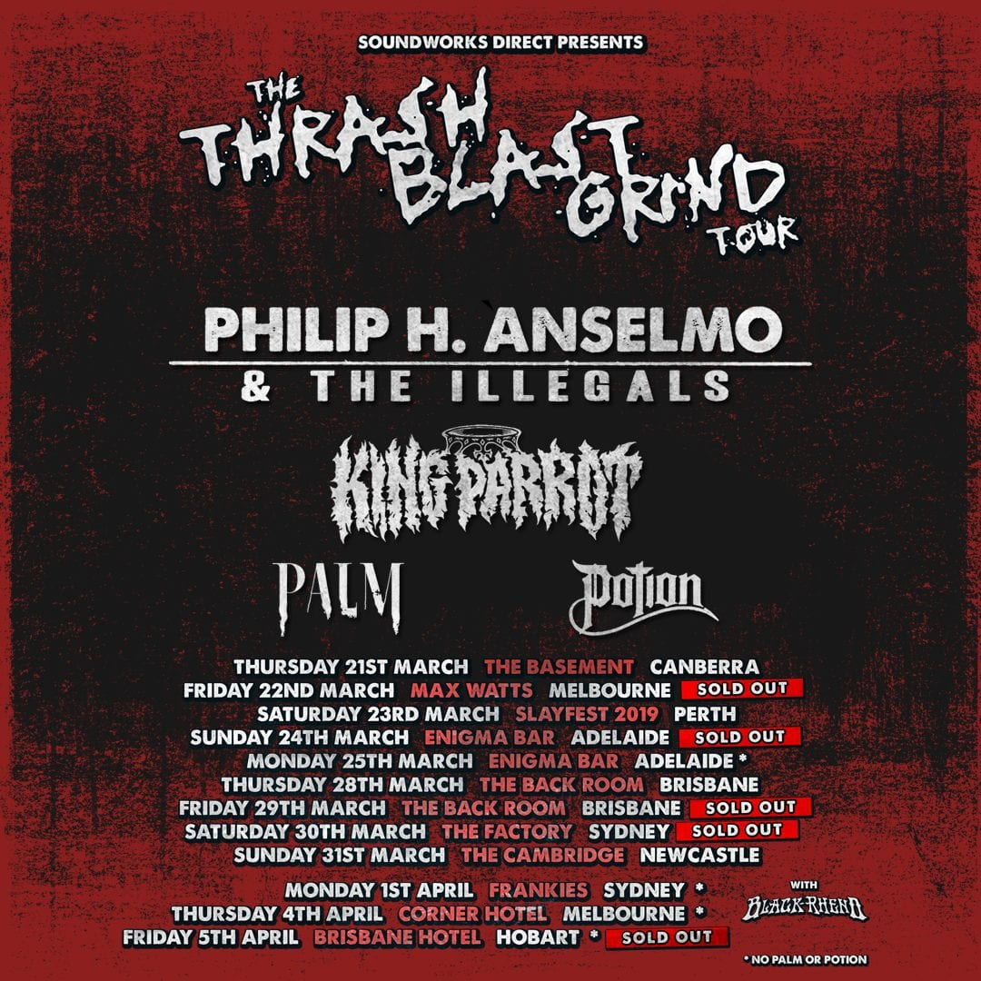 From the archives: Phil Anselmo and the Thrash Blast Grind Tour @ The Back Room, Brisbane 29/03/2019